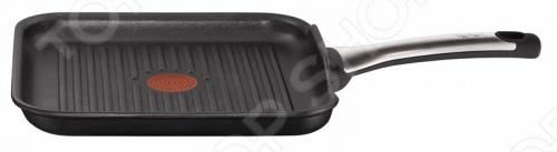 Сковорода-гриль Tefal TALENT имеет элегантное антипригарное покрытие Titanium Pro черного цвета и отлично впишется в интерьер любой кухни. Оптимальную температуру для начала готовки поможет определить индикатор нагрева Thermo-Spot 4 . Сковорода-гриль Tefal TALENT обладает повышенной устойчивостью к деформации и равномерным распределением тепла благодаря толстым стенкам и дну в виде диска из нержавеющей стали. Подойдет для всех источников тепла, включая индукцию.