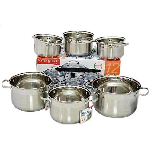 Набор кастрюль MAYER &amp;amp; BOCH MB-20875: 12 предметовНаборы посуды для готовки<br>Толстые стенки кастрюль из набора MAYER BOCH MB-20875, их многослойное капсулированное днище и крышка, плотно прилегающая к кастрюле, позволяют максимально сохранить витамины и питательные вещества в приготовляемых блюдах. Более того, осуществлять приготовление пищи в нержавеющих кастрюлях можно с минимальным количеством масла. Этот материал выдерживает высокие температуры, ударопрочен, обладает защитным антибактериальным эффектом, не подвержен внешним повреждениям. Все это позволяет посуде из нержавейки сохранять свои полезные свойства и привлекательный вид долгие годы. При этом полностью сохраняются естественный природный вкус и витамины. Кроме того, вы сможете значительно сэкономить свое время и деньги, ведь в случае использования электрической плиты весомо сокращается затрачиваемая при готовке электроэнергия. Дно посуды состоит из высокотеплопроводного алюминия, расположенного между слоями нержавеющей стали, что позволяет ему равномерно прогреваться и сохранять температурный режим еще некоторое время. Блюдо, которое находится в посуде из нержавеющей стали, не нужно доводить до готовности на плите можно выключить огонь за 20 минут до окончания готовки, дальнейшее произойдет без вашего участия. Содержание витаминов и полезных веществ в пище, приготовленной в посуде из стали, резко возрастает.<br>