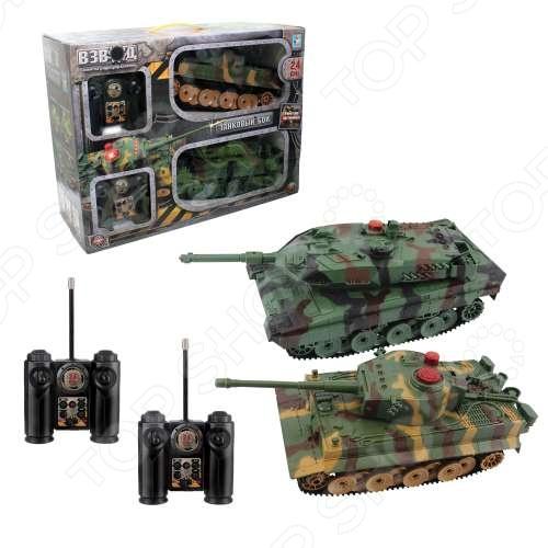 Набор из 2-х танков радиоуправляемых 1 Toy с функцией ведения боя друг против другаНабор из 2-х танков радиоуправляемых 1 Toy с функцией ведения боя друг против друга хорошо смоделированные танки с поворотной башней, звуковыми и световыми эффектами, которые отлично подойдут для игры как в доме, так и на улице. Танки отличаются потрясающей маневренностью, динамикой и покладистостью. Они готовы подарить отличное времяпрепровождение и массу удовольствия вашему малышу. Танки подойдут как детям, так и взрослым любителям танкового симулятора World of Tanks. Устройте свои танковые бои вместе с друзьями и близкими. В упаковке 2 штуки.<br>