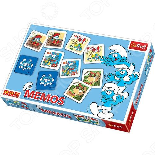 Игра Мемо Trefl «Смурфики 2»Обучающие и развивающие настольные игры<br>Игра Мемо Trefl Смурфики 2 отличный подарок для вашего малыша. Игра подходит для неограниченного количества участников от одного и больше. Карты украшены изображениями всеми любимыми персонажами мультфильма Смурфики 2 . Колода состоит из 60 штук, где есть 30 одинаковых пар. Для начала игры необходимо разложить карточки лицевой стороной вниз. Далее игрок открывает две из них и снова кладет лицом вниз. Целью игры является, открывая по две карточки, собрать парные изображения. Кто из участников наберет больше парных карточек, тот и победил. Игра сделает досуг вашего малыша интересным, увлекательным и занимательным. Игра Мемо Trefl Смурфики 2 обязательно придется по душе вашему ребенку.<br>