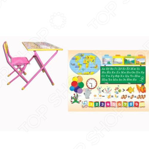 Набор мебели детский: стол и стул Дэми Глобус это набор трансформируемой мебели для ребенка. В набор входят стол и стульчик, которые складываются. Такой комплект подойдет для использования как дома, так и в дошкольных учреждениях. Набор подходит для детей в возрасте от трех лет максимальная нагрузка 30 кг . За столом можно обедать, заниматься, делать различные поделки, лепить. Ламинированную поверхность столешницы удобно и просто мыть. Поверхность стола украшена различными обучающими иллюстрациями, так что ребенок сможет познакомиться с цифрами, буквами, временами года, цветами и многим другим. После занятий или игр стол и стул можно сложить и убрать, поэтому такой набор подойдет даже для малогабаритных помещений.