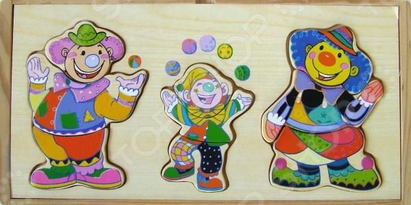 Пазл деревянный с набором одежды Adex «3 клоуна»