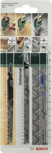 Набор пильных полотен Bosch SET T PROGRESSORНожовочные полотна<br>Полотно пильное Bosch SET T PROGRESSOR предназначено для распиловочных работ по металлу, дереву и древесным материалам при помощи электрического лобзика. Для большей эффективности имеет разведенные фрезерованные зубья и T-образный хвостовик. Полотно из HSS-стали идеально для резки толстого листового металла и труб толщиной до 10 мм. Полотно из высокоуглеродистой стали справится с древесиной толщиной до 65 мм. Универсальное биметаллическое полотно разрежет металлические листы, профили и трубы толщиной до 10 мм и древесные материалы до 65 мм.<br>