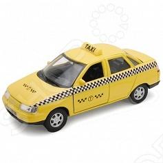 Модель машины 1:34-39 Welly «Lada 110. Такси»Модели авто<br>Модель машины 1:34-39 Welly Lada 110. Такси это коллекционная модель, которая является копией настоящего автомобиля. Она изготовлена из металла с элементами пластика. У машинки открываются двери, двигаются колеса. Машинка является отличным подарком не только ребенку, но и коллекционеру. Однако, во время игры с такой машинкой у ребенка развивается мелкая моторика рук, фантазия и воображение.<br>