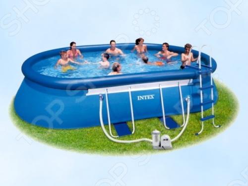 Бассейн надувной Intex 54432Надувные бассейны<br>Бассейн надувной Intex 54432 это отличный бассейн, который принесет море прямо к вам на задний двор, а также улыбку на лице детишек. Бассейн позволяет собрать собственное маленькое озеро во дворе дачного дома, купить которое по карману практически любому. Он может быть установлен практически на любой площадке. Семейный надувной бассейн, который послужит превосходным местом для отдыха всей семьёй дети от 6 лет в жаркую, сухую, летнюю погоду. Бортики защитят от травм и ушибов. Отличное решение для родителей, которые хотят искупать или приучить своих детей не бояться воды. Овальная форма идеально подходит для плавания и для игр. Конструкция обеспечивает максимальную безопасность и комфорт, удобство и легкость в эксплуатации - процесс сборки до наполнения водой занимает 30 минут. Преимущества:  Надув один раз можно пользоваться весь сезон, только изредка меняя воду это делается тоже очень легко, так как имеется специальный клапан для слива .  Широкие борта позволят взрослым присесть, а детям играть на стенках.  Стенки из трехслойного пластика, изготовленные по технологии Super-Tough, поддерживаются надувным кольцом по бортику и сборной каркасной конструкцией.<br>