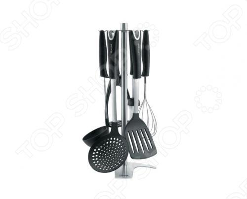 Набор кухонных аксессуаров Rondell Handlich RD-224 изготовлен из нейлона и высококачественной нержавеющей стали 18 8. Ручки сделаны из пластика. Рабочая поверхность покрыта сатинированной полировкой. Толщина рабочей поверхности: 2,5 мм. Подставка вращается!