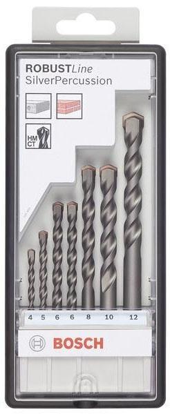 Набор сверл по бетону Bosch Robust Line Silver Percussion 2607010545 bosch robust line wood expert с t образным хвостовиком 2607010541