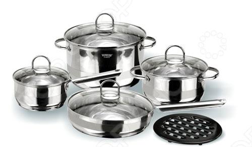 Благодаря матовой и зеркальной полировке, набор кухонной посуды Vitesse Azura будет отлично сотрется на любой кухне. Все предметы для готовки имеют корпус из нержавеющей стали, термоаккумулирующее многослойное дно, крышки из термостойкого стекла и ручки из нержавеющей стали. Нагрев можно осуществлять на конфорках: газовых, стеклокерамических, чугунных, галогеновых.
