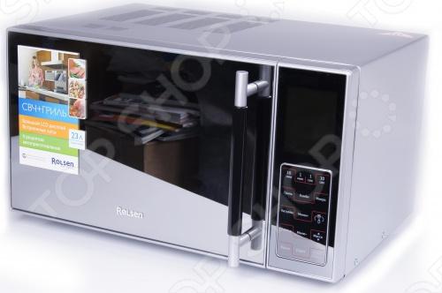 Rolsen MG2380SD является современной микроволновой печью с супер-стильным зеркальным дизайном High Tech. А сенсорный режим управления, большой LCD-дисплей, внутренняя камера изготовленная из нержавеющей стали позволят этой модели стать настоящим украшением кухни. Оборудована мощным встроенным грилем на 1000 Вт можно использовать как гриль, так и гриль совместно с СВЧ-излучением , режом разморозки, функцией задержки приготовления, а также таймером. Все это помогает в приготовление самых изысканных разнообразных блюд и осуществлении самых смелых кулинарных фантазий. Функция защиты от детей и встроенные часы создадут дополнительные удобства.