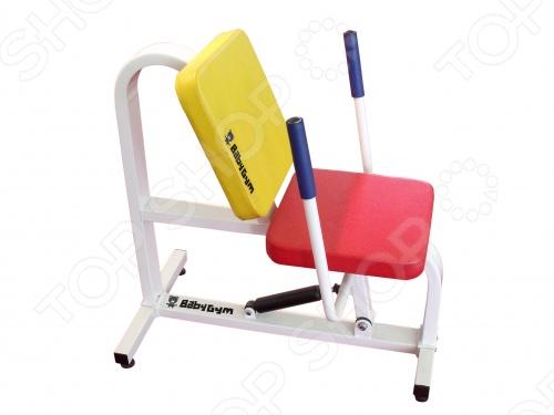 Тренажер силовой детский Baby Gym Жим от груди прост и удобен в использовании. Механизм работы тренажера заключается в том, что ребенок садится в яркое удобное кресло, берется за рукоятки тренажера и выпрямляет руки, как бы отталкивая их от себя. Мягкое кресло будет бережно поддерживать спину ребенка во время занятий. Вы можете регулировать силу сопротивления рукояток в большую или меньшую сторону. Тренажер можно использовать как дома, так и в различных детских учреждениях.