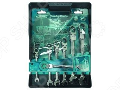 Набор ключей комбинированных шарнирных с трещоткой GROSS цена