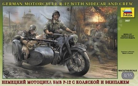 Сборная модель Звезда немецкий мотоцикл БМВ Р-12 с коляской