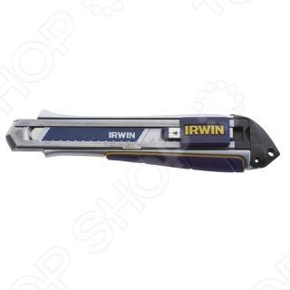 Нож строительный IRWIN Pro-Touch Extreme DutyСтроительные ножи<br>Нож строительный IRWIN Pro-Touch Extreme Duty служит для разрезания картонных коробок, обоев или листов бумаги. Корпус выполнен из легкого и прочного материала - алюминия. Два сменных лезвия легко размещаются в специально отведенном для них отсеке. Лезвие сегментированное, износившуюся часть легко отломить. Нож оснащен фиксатором для торможения лезвия в нужном положении.<br>