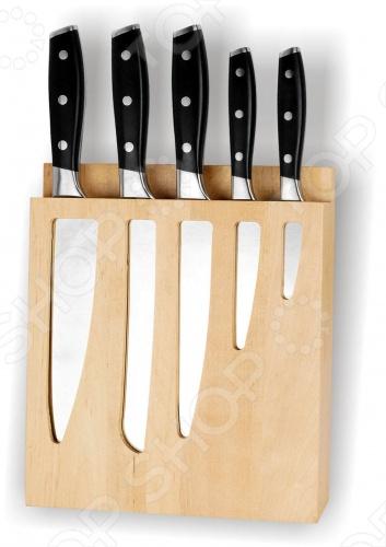 Набор ножей Vitesse Sejina включает в себя:  Нож поварской 2,5 мм  Нож хлебный 2,5 мм  Нож разделочный 2,5 мм  Нож универсальный 2,5 мм  Нож для чистки и резки 2 мм  Деревянную подставку для хранения