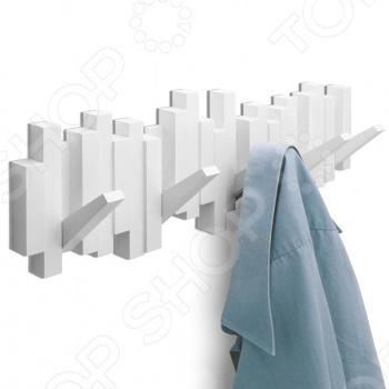 Вешалка настенная Umbra Sticks отлично дополнит интерьер любой современной квартиры. Вешалка предназначена специально для приверженцев минималистических решений в дизайне. 5 прочных крючков отгибаются тогда, когда вам это надо. В остальных случаях вешалка представляет собой плоский декоративный элемент стильной формы. Umbra это компания, которая уже более 30 лет занимается производством оригинальных домашних аксессуаров. Сегодня Umbra признана в 118 странах мира, в том числе и в России, одним из лидеров в области оригинального, доступного и простого современного дизайна для дома и интерьера. Umbra создает и производит уникальные вещи превосходного качества для оформления интерьера гостиных, спален, кухонь и ванных комнат.