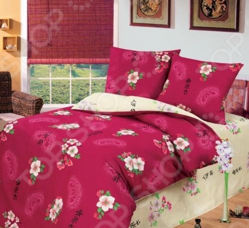 Комплект постельного белья Любимый дом Сакура комплект постельного белья любимый дом комплект постельного белья лебеди любимый дом 1 5 спальный 2 наволочки 70х70 см хлопок