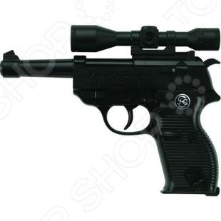 Пистолет Schrodel ДжексонПистолеты<br>Пистолет Schrodel Джексон оружие, с которым ребенок почувствует себя настоящим стрелком. Сама стрельба производится пистонами, что делает игровой процесс более реалистичным. В качестве мишени можно использовать простой картонный лист с нарисованной целью, это поможет грамотно выработать умение стрельбы. Кроме того, оружие выглядит невероятно круто. Перед использованием нужно произвести инструктаж для ребенка.<br>