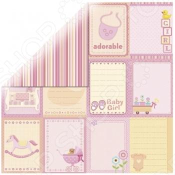 фото Бумага для скрапбукинга с глитером Rayher «Маленькая девочка-бирки», купить, цена