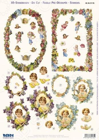 фото Аппликация бумажная вырубная Reddy Creative Cards «Ангелы, дети и цветочные рамки», купить, цена