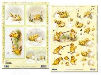 фото Аппликация вырубная для объемных рисунков Reddy Creative Cards «Цыплята», купить, цена
