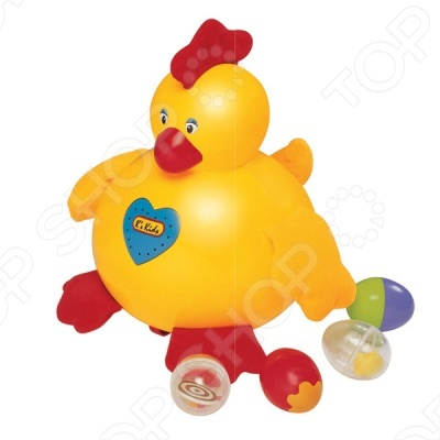 Курица-несушка понравится как деткам, так и взрослым. Курочка по-настоящему может кудахтать и умеет откладывать яйца. Данная модель имеет очень необычный дизайн и яркий цвет, что не сможет оставить ребенка равнодушным. В комплекте с игрушкой идут 4 разноцветных яйца. Голова и туловище курочки из пластика, а лапки, хохолок и крылышки из мягкой ткани, причем в хохолке хрустящая прослойка, а в крылышках гранулы. Стоит только нажать на живот курочки, она начинает говорить-кудахтать и звучит веселая мелодия. Разные материалы помогают малышу развить тактильные ощущения, а также мелкую моторику.