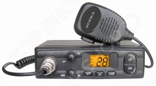 Радиостанция для автомобиля Supra VRS-300Другая автоэлектроника<br>Радиостанция для автомобиля Supra VRS-300 представляет собой надежное и удобное средство для поддержания свяжи между автомобилями. Устройство оснащено жидкокристаллическим дисплеем, позволяющим контролировать состояние прибора, а функция автоматического шумоподавления облегчит работу в тех случаях, когда у пользователя нет возможности вручную заниматься наладкой сигнала.<br>