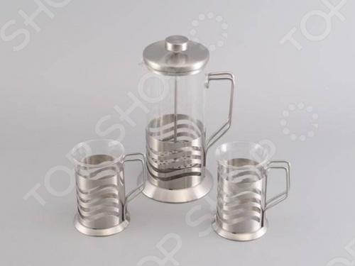 Набор: чайник заварочный с поршнем и 2 кружки для кофе Gipfel GLACIER-TOULOUSE 7180 заварочный чайник gipfel 7213 glacier memphis 350мл