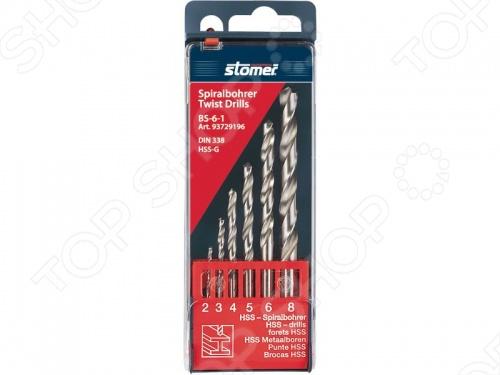 Набор сверл по металлу Stomer BS-6-1Наборы сверл<br>Набор сверл по металлу Stomer BS-6-1: 2 мм, 3 мм, 4 мм, 5 мм, 6 мм, 8 мм.<br>