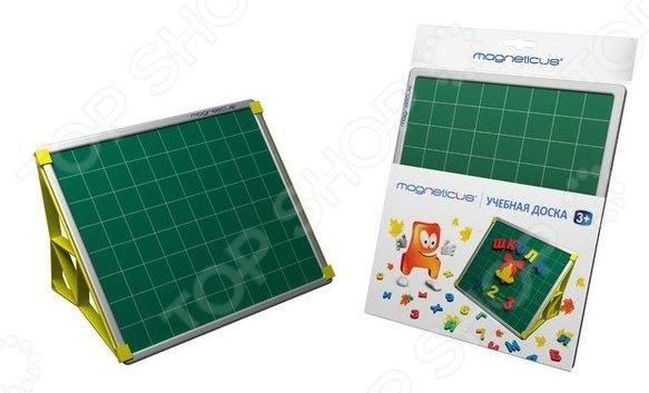Набор обучающий Magneticus Учебная доска это отличная возможность в игровой форме обучить ребенка алфавиту, грамоте и арифметике. В комплект входит учебная доска и две пластиковые ножки-подставки. Доска двухсторонняя, с одной стороны разлинована в клеточку, а с другой в тонкую линеечку. Ее можно использовать как основу для письма и рисования, а также для крепления магнитных букв и цифр. Предназначено для детей в возрасте от 3-х лет.