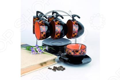 Набор чайный на подставке Фарфоровый путь Рябинка состоит из 12 предметов, 6 чашек по 265 мл и 6 блюдец. Посуда имеет яркую черно-оранжевую расцветку. Набор станет отличным подарком и прекрасно впишется в интерьер кухни. Все составляющие набора выполнены из керамики.