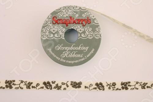 Лента с коричневым принтом ScrapBerry's SCB 112037639102 лента декоративная scrapberry s счастливого нового года 1 5 х 200 см