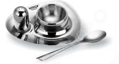 Пашутница с солонкой и ложечкой Vitesse Mistio используется для подачи яиц различной степени готовности. Поможет интересно преподнести утренний легкий завтрак. Изготовлена из нержавеющей стали. Выполнена в зеркальной полировке. Можно мыть в посудомоечной машине.