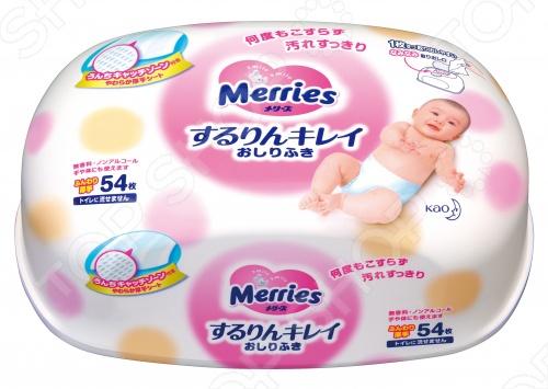 фото Влажные салфетки детские в пластиковом контейнере Merries, Уход за кожей