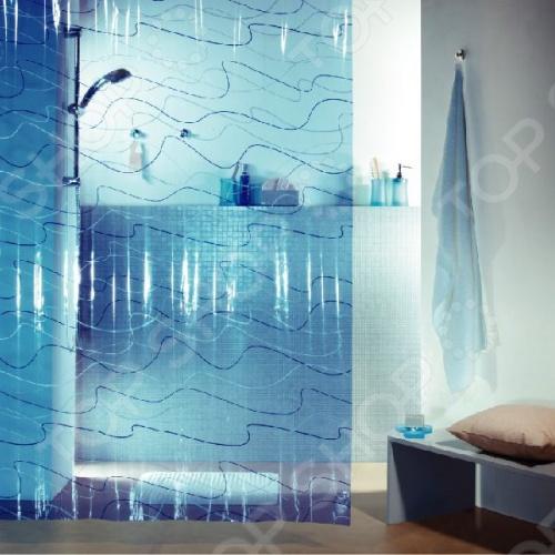 Штора для ванной комнаты Spirella POOLКарнизы. Шторки для ванной<br>Штора для ванной комнаты Spirella POOL это отличная штора, которая изготовлена из экологически чистого полихлорвинила. Верхняя кромка имеет отверстия для колец. Приятный рисунок успокаивает и замечательно вписывается в дизайн вашей ванной комнаты. Ткань штор нельзя гладить, сушить и отжимать в стиральной машине. Если необходимо очистить поверхность, то рекомендуется ручная стирка.<br>