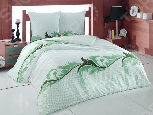 Комплект постельного белья Tete-a-Tete «Изумруд». ЕвроЕвро<br>Комплект постельного белья Tete-a-Tete Изумруд евро, необыкновенно нежный и красивый - станет украшением любой спальни и подарит крепкий и здоровый сон. Ваша постель будет выглядеть безупречно. Лёгкость и шелковистость ткани после стирки ещё больше усилится, поэтому спать на этом белье со временем станет ещё приятнее. Наволочки с клапанами не имеют пуговиц и молний, которые могут поранить кожу во сне. Все изделия комплекта - цельнокроеные, и не имеют грубых швов. Комплект изготовлен из 100 хлопка, плотность 140 г м2. Стирать изделия следует при температуре не выше 30С с использованием щадящих отбеливающих средств, высокотехнологичных моющих средств и ополаскивателей. При стирке изделия не линяют и обладают минимальной усадкой. Комплект упакован в подарочную коробку.<br>