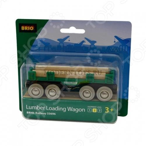 Вагон с бревнами Brio 33696 погрузчик с вращением с магнитом блист brio