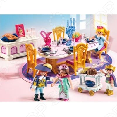 Сказочный дворец: Королевский обеденный зал - это прекрасная возможность перенестись в совершенно другой мир. Голова и конечности фигурок подвижны. Они могут держать в руках вилки, ножи, бокалы и другие предметы из наборов Playmobil. Колеса сервировочного столика вращаются. Благодаря разнообразию аксессуаров, с набором Королевский обеденный зал ребенок сможет создать увлекательную игру.