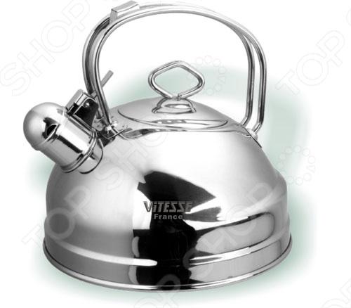 Чайник Vitesse Nayer выполнен в виде полусферы с зеркальной полировкой. Имеет откидной свисток. Поможет быстро вскипятить воду благодаря мнoгocлoйнoму тepмoaккyмyлиpyющeму дну. Нагревается на чугунных, стеклокерамических, индукционных, галогеновых и газовых конфорках.