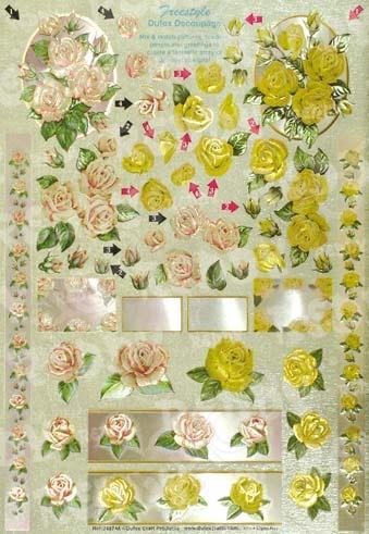 фото Аппликация вырубная и фон для рисунков Reddy Creative Cards «Розовые и желтые розы», купить, цена