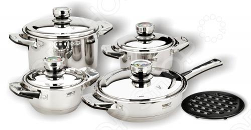Изящный и красивый набор кухонной посуды Vitesse Denise отполирован до зеркального блеска. Предметы для готовки имеют семиступенчатое термоаккумулирующее многослойное дно с маркировкой Vitesse France , внутреннюю градуировку, крышки из нержавеющей стали с термодатчиком и ручки на клепках. Нагрев осуществляется на газовых, стеклокерамических, чугунных, галогенных и индукционных конфорках.