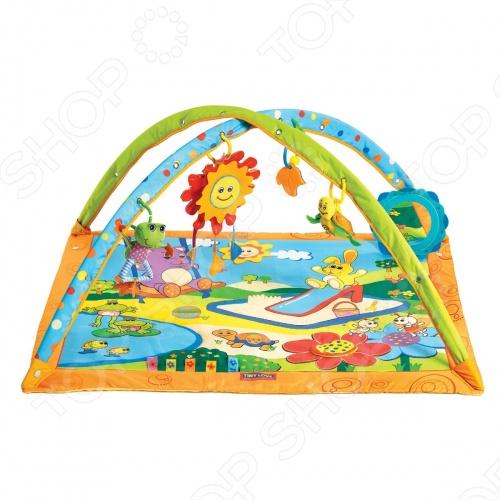 Развивающий коврик Tiny love Солнечный денекРазвивающие коврики и аксессуары<br>Развивающий коврик Tiny love Солнечный денек - предназначен для малышей с первых дней жизни и до 12 месяцев. Коврик стимулирует комплексное развитие малыша - слух, зрение, сенсорику, мелкую и крупную моторику, а так же влияет на эмоциональное развитие ребёнка. Все игрушки, которые подвешены на дуги можно снимать и использовать самостоятельно. Когда малыш подрастёт, он начнёт изучать животных изображённых на коврике. При изготовлении всех элементов коврика используются только высококачественные материалы, абсолютно безопасные для ребёнка. Коврик легко складывается и в собранном виде занимает мало места, поэтому его можно брать с собой на отдых или в путешествия. Допускается ручная стирка в тёплой воде. Для работы нужны батарейки типа АА 3 шт. В набор не входят.<br>
