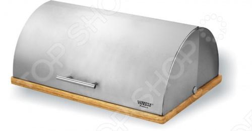 Хлебница Vitesse SierraХлебницы<br>Хлебница Vitesse Sierra выполнена в современном дизайне, из нержавеющей стали маркировки 18 10 с матовой полировкой, а дно хлебницы изготовлено из каучукового дерева, что делает её не только стильной но и удобной.<br>