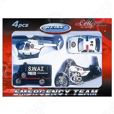 Набор машинок игрушечных Welly «Служба спасения. Полиция» 98630-4A welly welly набор служба спасения скорая помощь 4 штуки
