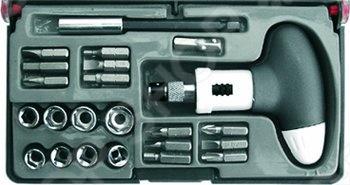 Отвертка пистолетная реверсивная с 23 битами CrV С Т-образной ручкой очень практична и удобна в использовании. данная модель идет с магнитным фиксатором для бит и встроенным картриджем для хранения бит. В наборе: 12 бит из хром-ванадиевой стали SL4; SL5; SL6; PH1; PH2; PH3; PZ1; PZ2; PZ3; H4; H5; H6 , 8 головок из хром-ванадиевой стали 5; 5.5; 6; 7; 8; 9; 10; 11 мм а также магнитный адаптер для бит и адаптер для головок. Упаковка: пластиковый чемоданчик.