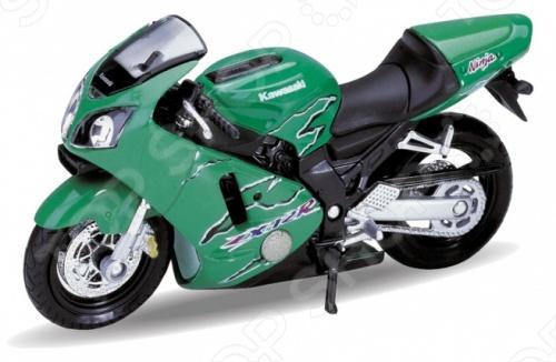 Модель мотоцикла 1:18 Welly Motorcycle/Kawasaki 2001 Ninja ZX-12R. В ассортименте