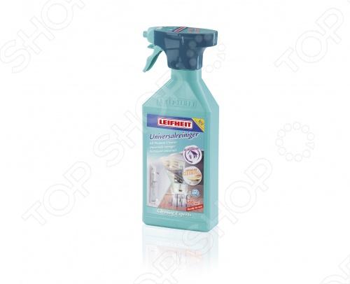 Чистящая жидкость универсальная с пульверизатором Leifheit HAUSREIN 41411Для чистки и ухода за мебелью<br>Чистящая жидкость универсальная с пульверизатором Leifheit HAUSREIN 41411 это эффективный помощник для удаления грязи, жира и пятен с любого типа поверхностей: как гладких, так и фактурных. Подходит для зеркал и стекол, обеспечивая идеальное очищение и не оставляя разводов. Удобный пульверизатор позволяет выбрать крупную или мелкую дозировку средства. Объем бутылки 500 мл. Leifheit Лайфхайт флагман мирового рынка товаров для дома. С 1959 года этот немецкий бренд производит кухонные принадлежности, инструменты для уборки и другие предметы, призванных облегчить повседневный быт. Признанный не только в странах СНГ, но и в Европе, Leifheit обладает узнаваемым логотипом, внушительной историей и инновационным подходом к производству. Все товары Leifheit изготовлены из безопасных и практичных материалов в условиях строгого контроля качества, которое подтверждено многолетней гарантией на каждый продукт.<br>