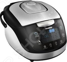 Мультиварка Marta MT-1989Мультиварки<br>Мультиварка Marta MT-1989 современная помощница на кухне, совмещающая в себе кучу интересных режимов для приготовления любимых блюд и воплощения кулинарных идей. Это многофункциональная модель способная заменить кучу кухонных принадлежностей, в ней можно делать вкусную пищу для всей семьи благодаря объемной чаше. Технология 3D-нагрева позволит равномерно нагреть пищу со всех сторон. Полезные функции:  Функция Отложенный старт создана для того, что бы блюдо было готово в назначенное время, а также для того, что бы вы не теряли времени при утренней готовке. Просто настройте таймер на нужный час и она сама начнет готовить.  Функция Поддержка тепла благодаря этой функции ваша еда всегда будет готова к применению. Жидкокристаллический дисплей выбрать нужный режим и поможет правильно настроить работу программ. Мультиварка оснащена чашей с антипригарным покрытием, которая не даст пригореть еде и сохранит в продуктах все микроэлементы. Основные программы и возможности приготовления:  Паста  Выпечка  Каша  Плов  Йогурт  Блюда на пару  Блюда во фритюре. В комплекте предоставляется книга 300 рецептов. С этим устройством, вам уже не придется просиживать кучу времени за плитой, а большой спектр возможностей для приготовления блюд, разнообразит повседневное меню.<br>