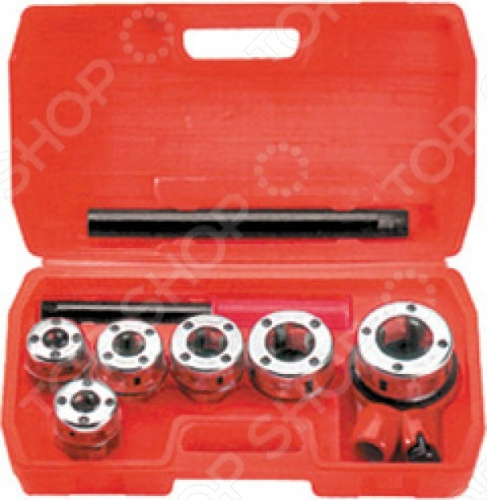 Набор клуппов трубных FIT - это сборная плашка для нарезки резьбы на металлических трубах стандартного диаметра. Состоит из:  Клуппа 2-3  Клуппа 8-1  Клуппа 4-3  Клуппа 1  Клуппа 1 4  Клуппа 4-1-1 Изготовлены из высокопрочной инструментальной стали, тем самым гарантируя долговечность инструментам. В комплекте входит компактный ластиковый чемодан для хранения инструментов.