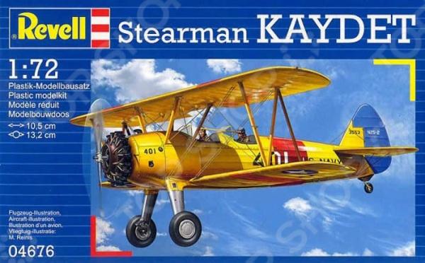 Сборная модель биплана Revell Stearman PT-13D KaydetАвиамодели<br>Сборная модель Stearman PT-13D Kaydet представляет собой точную копию настоящего военного самолета. Состоит из 29 деталей, которые юный механик должен собрать сам. Во время игры с такой крылатой машиной у ребенка развивается мелкая моторика рук, фантазия и воображение. Американский биплан выпущен известной компанией по производству игрушек Revell. Изготовлен из пластика и обладает потрясающей детализацией. Сборная модель Stearman PT-13D Kaydet является отличным подарком не только ребенку, но и коллекционеру. Клей, кисточка и краски в комплект не входят.<br>