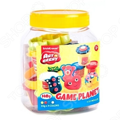 Пластилин Erich Krause Game Planet набор для лепки, включает в себя 4 брусочка разноцветного пластилина по 35 гр. Пластилин произведён на растительной основе, поэтому абсолютно безопасен для детей. Рекомендуется детям от 3-х лет. В процессе работы с пластилином у ребёнка развивается абстрактное мышление, воображение, мелкая моторика рук.